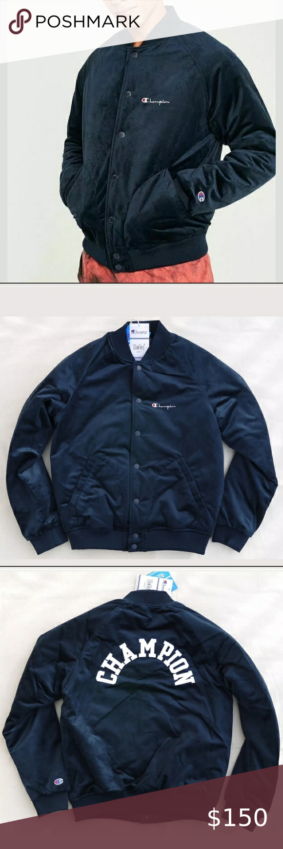 Champion Velour Bomber Champion Jacket Clothes Design Athletic Jacket [ 1740 x 580 Pixel ]