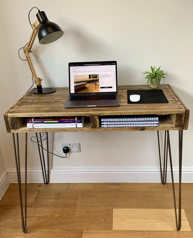 Handmade Writing Desk Rustic Workstation Office Bureau With Storage Made From Reclaimed Industrial Wood Upcycled Pallet Furniture Range In 2020 Pallet Furniture Rustic Writing Desk Writing Desk