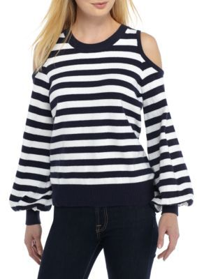 19dd5c83c9b25 Michael Michael Kors Women s Stripe Cold Shoulder Sweater - True Navy