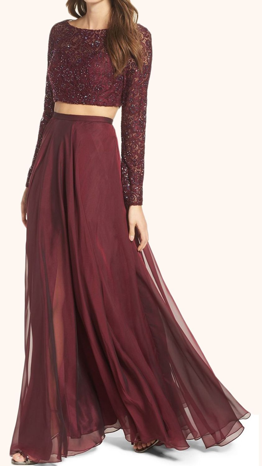 Two piece long sleeves lace prom gown burgundy formal dress formal