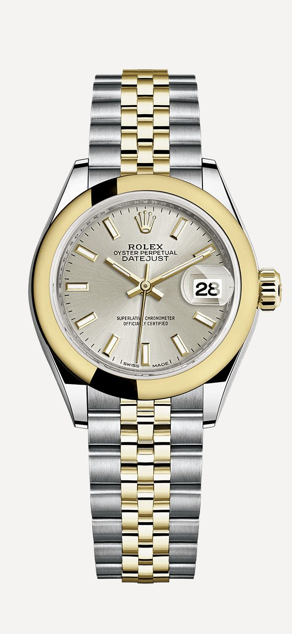 a3b6e342fb7 The Rolex Lady-Datejust 28 Rolesor with a domed bezel in 18ct yellow gold