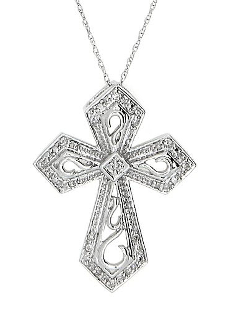 14kt Gold Filigree Open Design Diamond Cross Pendant Necklace 1 10 Cttw I J Color I2 I3 Clarity Cross Jewelry Cross Pendant Necklace Diamond Cross Pendants