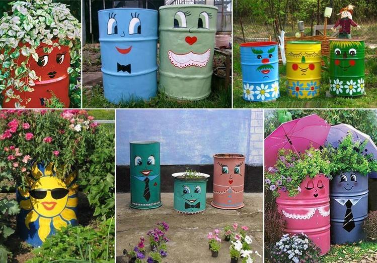 Udekoruj Beczki W Ogrodzie Lub Na Dzialce Diy Outdoor Decor Recycled Garden Garden Art