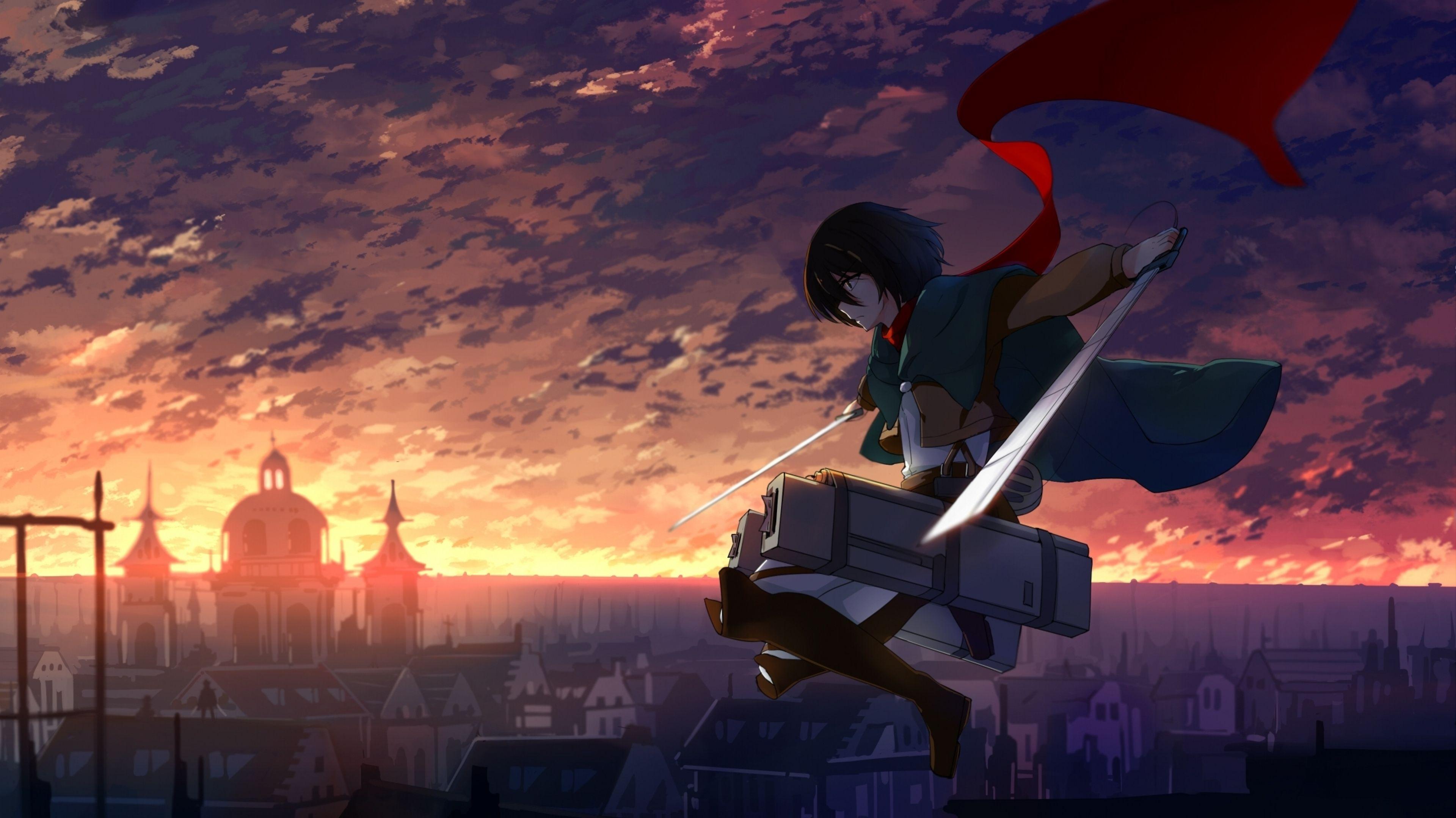 3840x2160 Wallpaper Anime Shingeki No Kyojin Mikasa Ackerman En 2021 Wallpapers 4k Para Pc Anime Sunset Kyojin