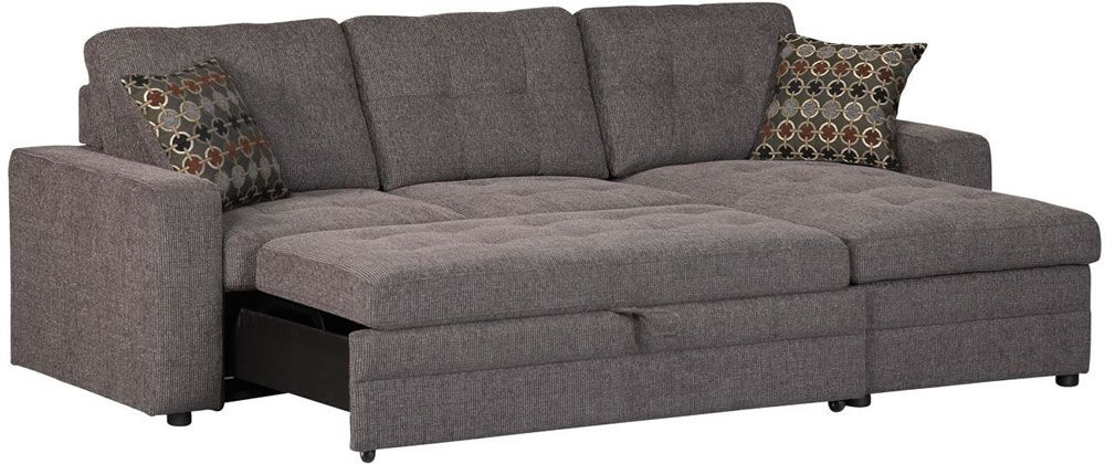 Coaster Gus Charcoal Chenille Upholstery Small Sectional Storage Chaise Sofa Pull Out Bed Sleeper With Track Arms 2