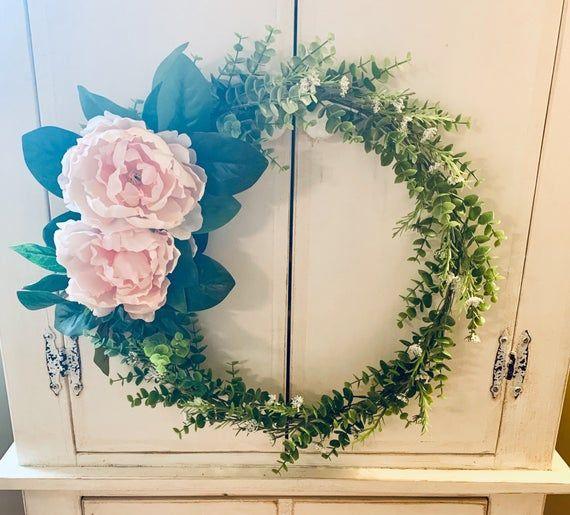 Photo of 19-inch Hoop Wreath, Steel Hoop Wreath, Modern Wreath, Eucalyptus Leaves, Blush Rose Peony, Housewar