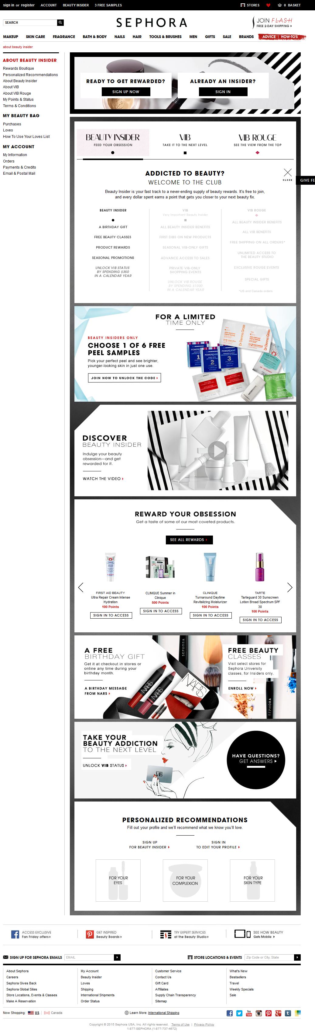 Sephora Beauty Insider Landing Page Sephora Beauty Loyalty Marketing Sephora