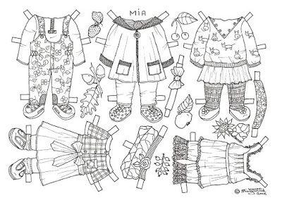 Karen`s Paper Dolls: Mia 1-3 Paper Doll to Colour. Mia 1-3 påklædningsdukke til…