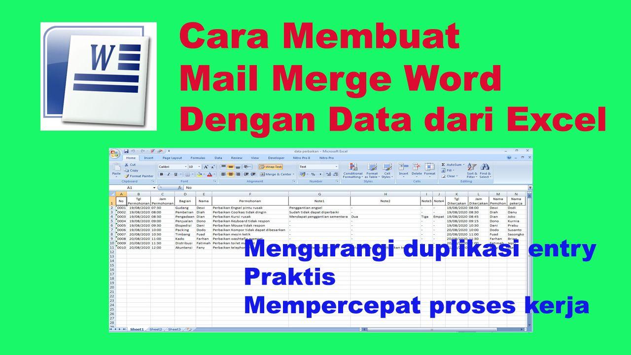 Cara Membuat Mail Merge Word Dengan Data Dari Excel How To Make Mail Merge Word Wih Excel Data Source Menyajikan Langkah Langkah Cara Membuat Su Di 2020 Surat Youtube
