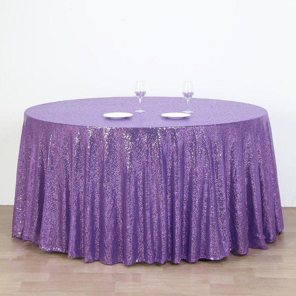 132 Purple Premium Sequin Round Tablecloth Purple Wedding