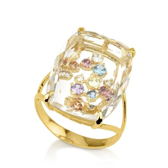 Or 14K véritable diamant et forme carrée Rubis Anneau Mariage Bijoux