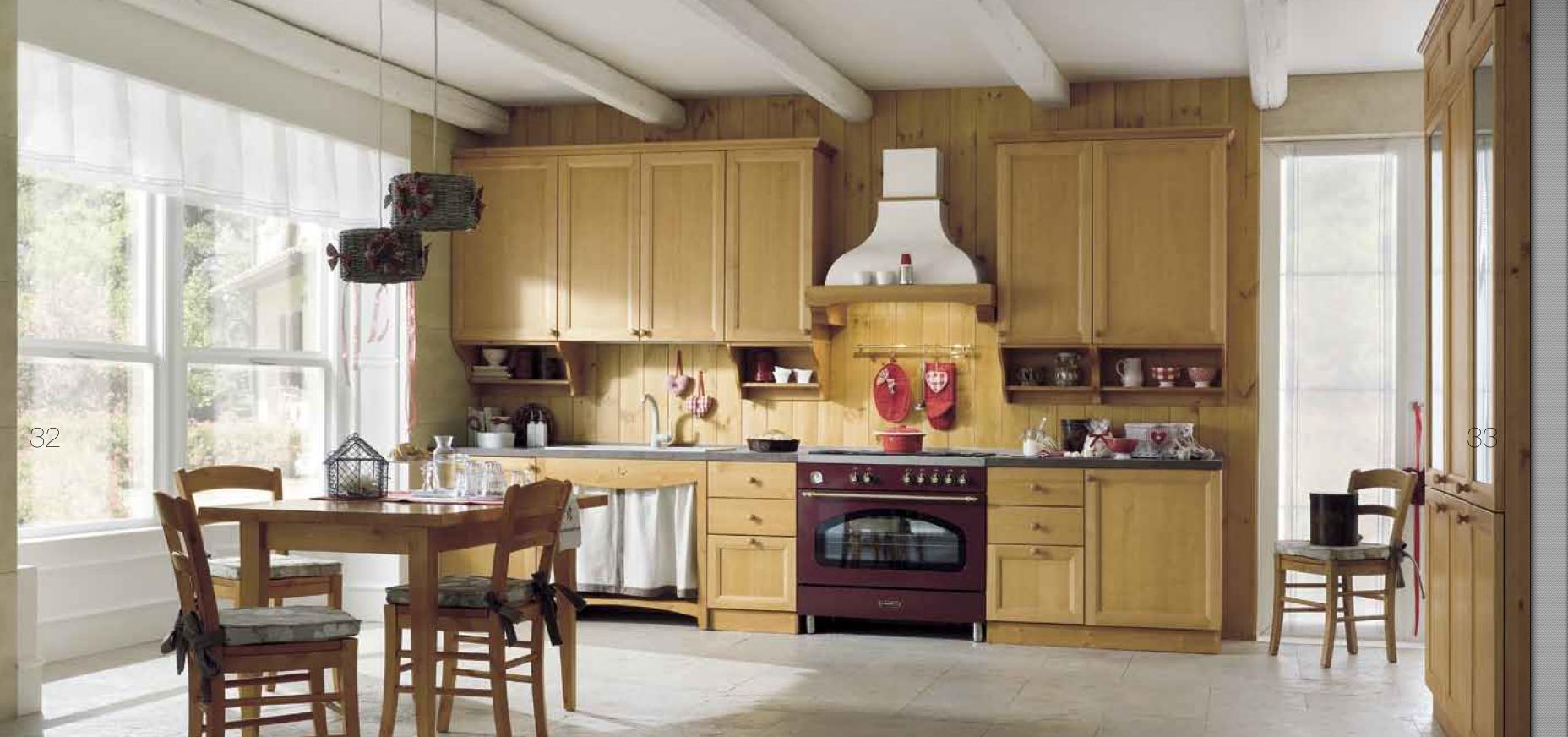 Cucina in pino massello. Personalizzabile con cestoni, cassettiere ...