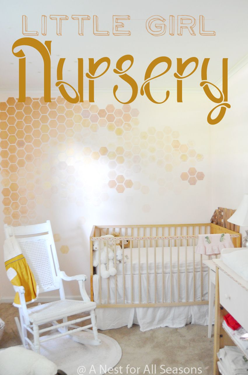 Honeycomb Wall Stencil DIY -- STEP 9 to a Girly Nursery! | Wall ...