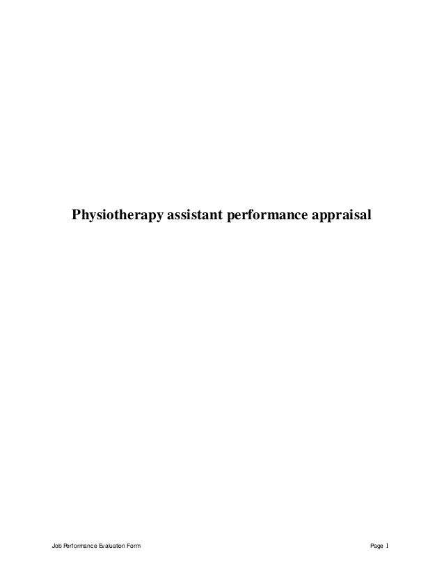 Job Performance Evaluation Form Page  Physiotherapy Assistant