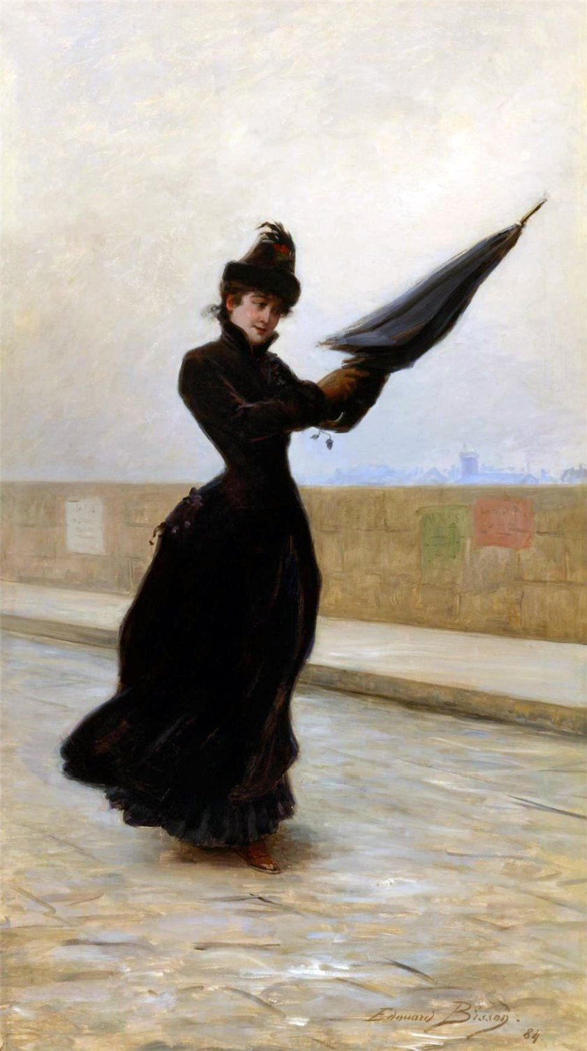 Édouard Bisson Umbrella art, Windy day, Art