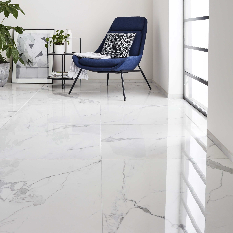 Carrelage Sol Et Mur Intenso Effet Marbre Blanc Rimini L 80 X L 80 Cm Cerim Insp En 2020 Carrelage Sol Marbre Blanc Et Marbre