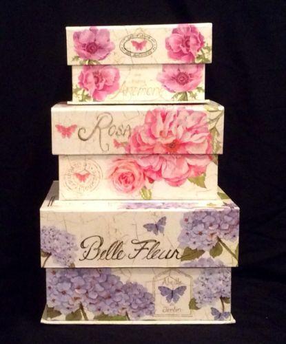 Decorating Hat Boxes Interesting 3 Belle Fleur Jardin Floral Chic Butterfly Keepsake Organizer Inspiration Design