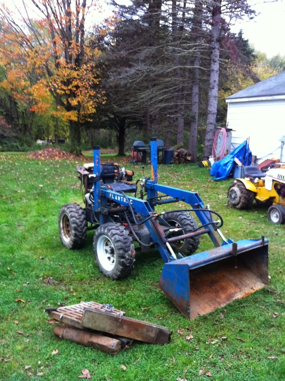 Homemade loader lawn tractor lawn mower front end loader