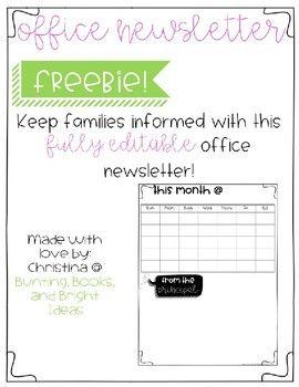 Editable Office Newsletter Template Freebie School Newsletter
