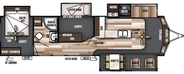 Wildwood Lodge 385flbh Travel Trailer Floor Plans Rv Floor
