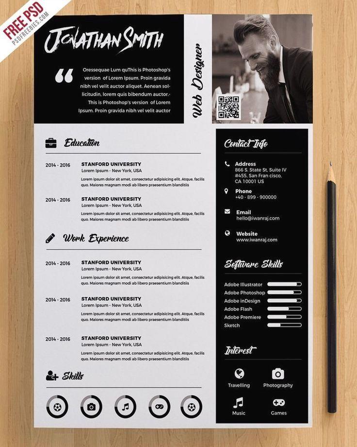 Premium Resume Template Free PSD Kreatív cv, Kreatív