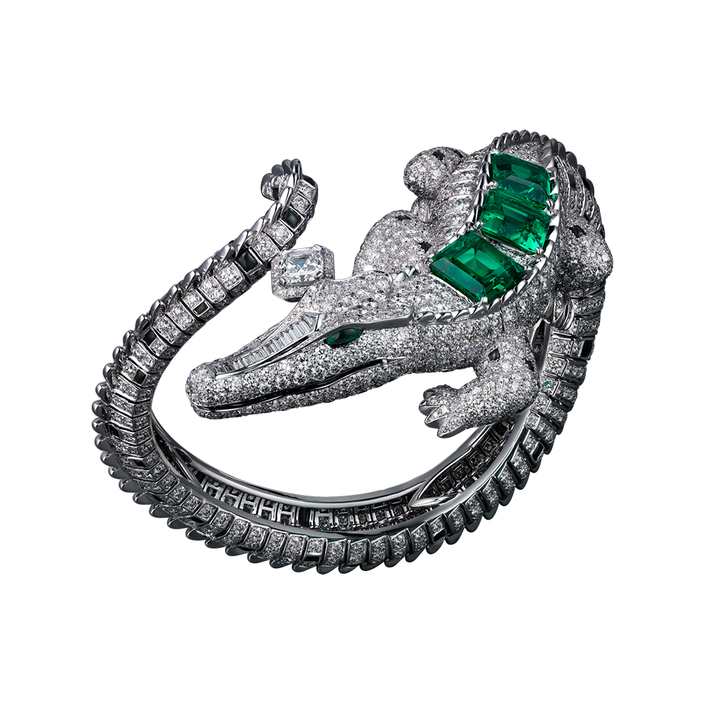 High Jewelry Cartier Royal bracelet, 18K white gold, three square-shaped  emeralds totaling 7.56 carats from Colombia, one 1.01 carat cut-cornered  square ... fa0fdd46bb