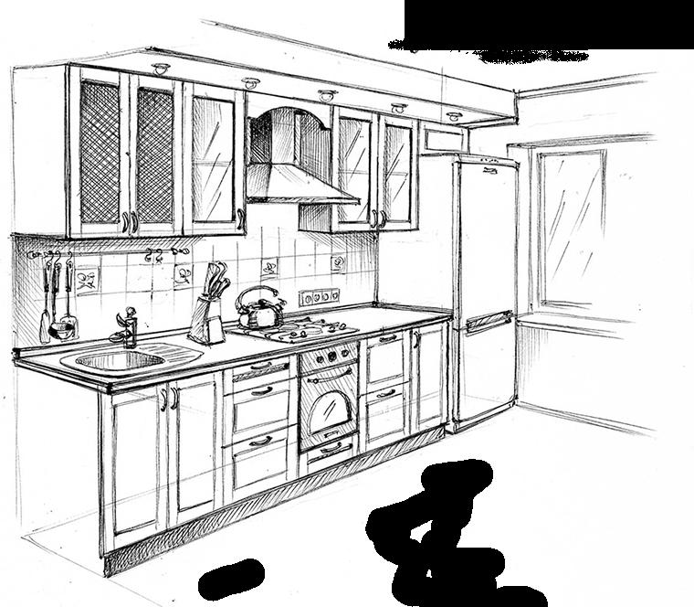 Shema Kuhni Interior Design Drawings Drawing Interior Kitchen Drawing
