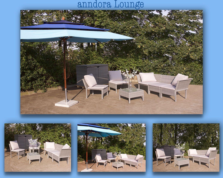 Auch hier wieder ein gemütliches Plätzchen unter dem 3-lagigen anndora Sonnenschirm