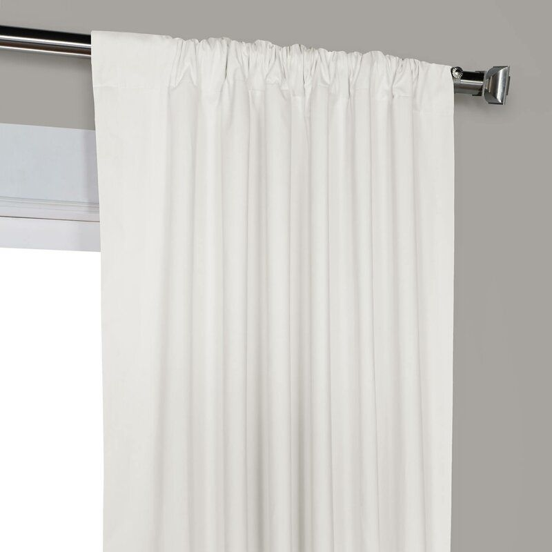 Bryce 100 Cotton Solid Blackout Thermal Rod Pocket Single Curtain