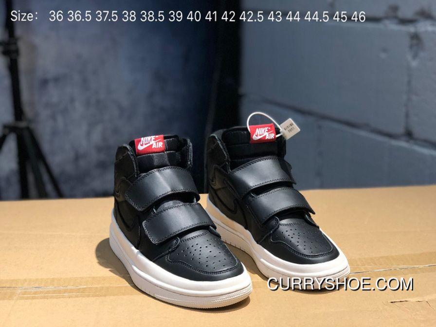d366946cf89a68 Full Grain Leather-Air Jordan 1 Re Hi Double Strp 1 Velcro Aj1 Black White  AQ7924-001 Women Shoes And Men Shoes Free Shipping