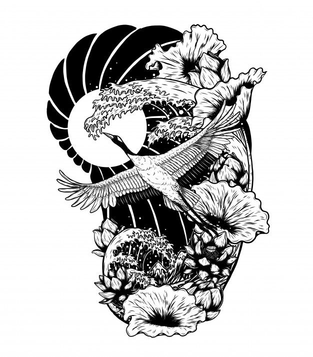 Red Crowned Crane With Lotus Vector By Hand Drawing Japanese Tattoo Art Japanese Art Ink Lotus Vector