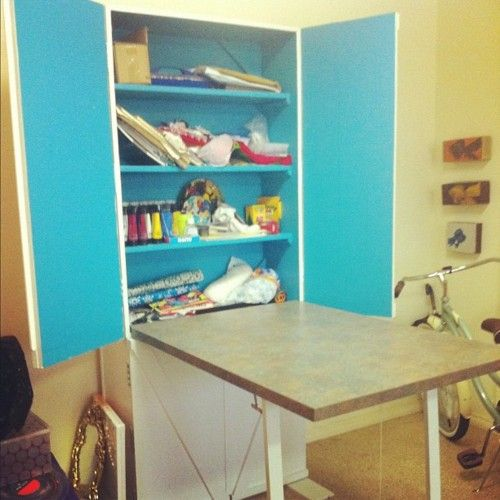 craft cabinet with fold out table murphy table craft room rh pinterest com