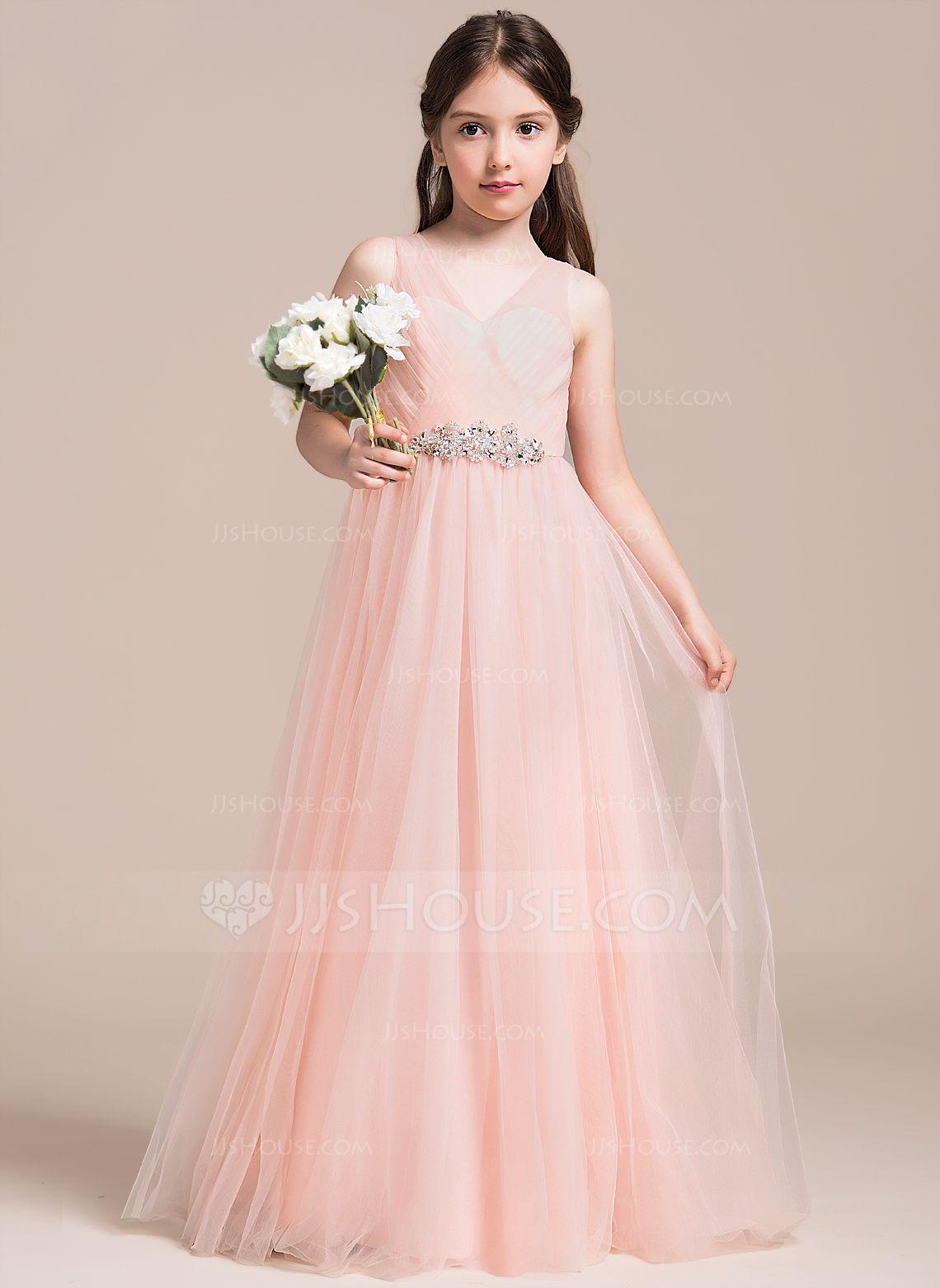 Dress for wedding party for girl  ALinePrincess Vneck FloorLength Tulle Junior Bridesmaid Dress