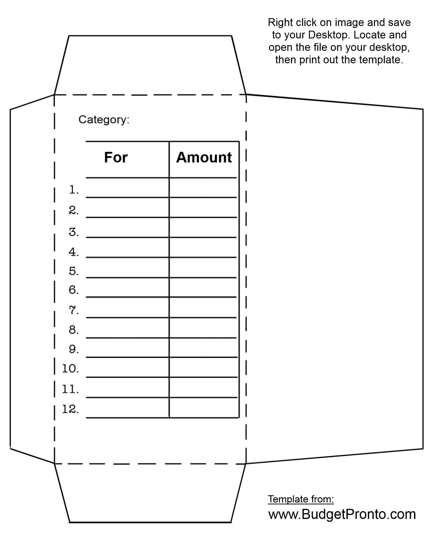 Cash Envelope Printout Template  Budgeting