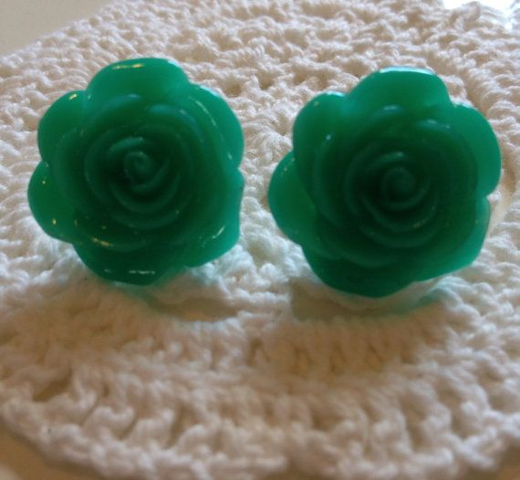Large resin rose flower stud earring posts spring floral jewellery on Etsy, £3.50