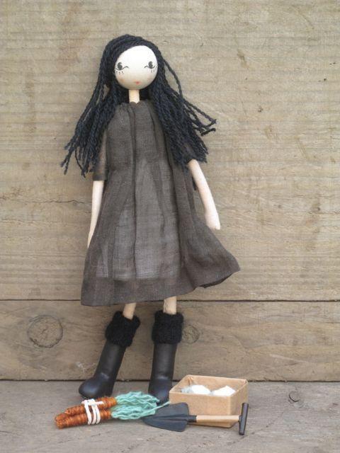 Raven, ooak small art gardening doll wearing gum boots and antique linen dress.