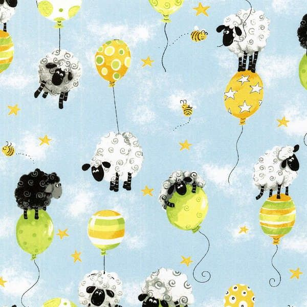 Susybee Blue Lewe Amp Balloons Cotton Fabric Fabric