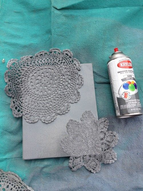 tutorial 7 spray painted doily canvas i can just. Black Bedroom Furniture Sets. Home Design Ideas