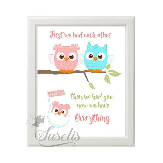 First we had each other Family Owls Baby Girl Nursery by Suselis