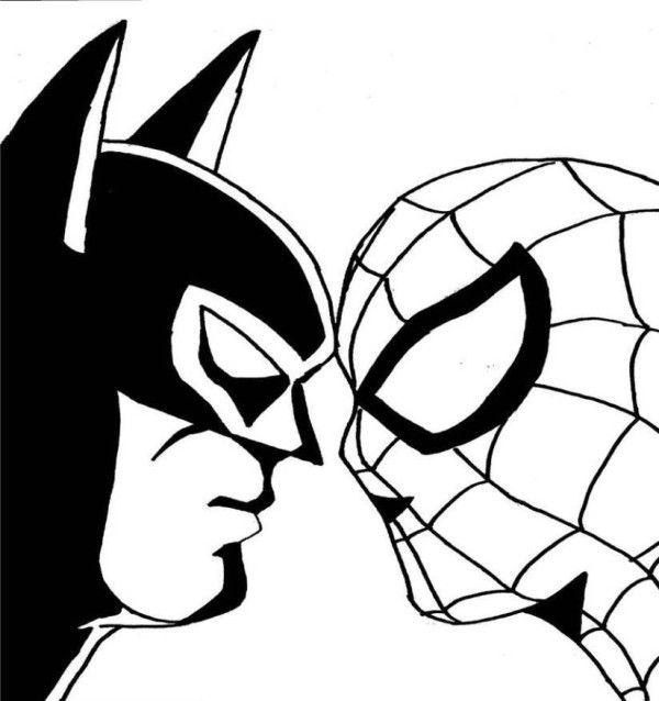 Spiderman Batman Face to Face Coloring Pages | 4 Kids Coloring ...