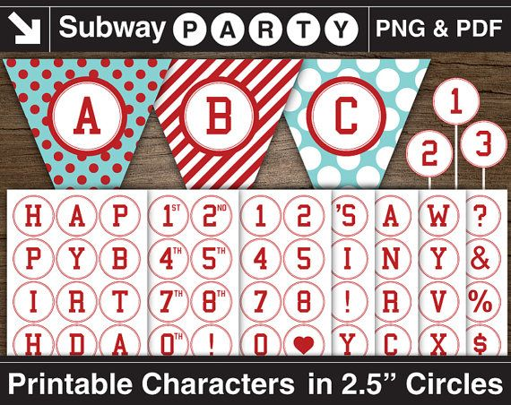 Printable Party Banner Red Alphabet in 2.5 Circles. by subwayParty