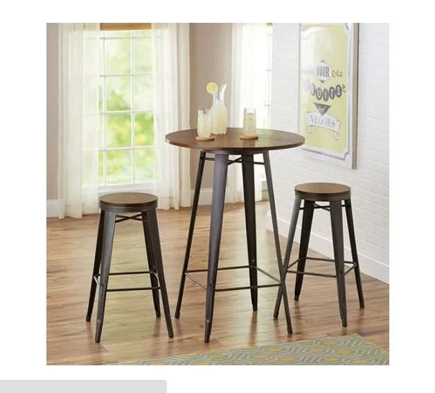rustic dining set 3 piece bistro bar table kitchen counter stools
