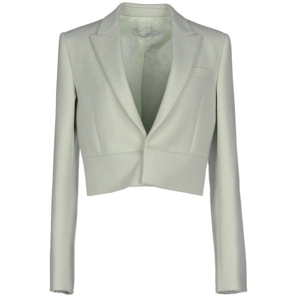 Givenchy Blazer ($950) ❤ liked on Polyvore featuring outerwear, jackets, blazers, light green, collar jacket, givenchy, givenchy blazer, white jacket and givenchy jacket