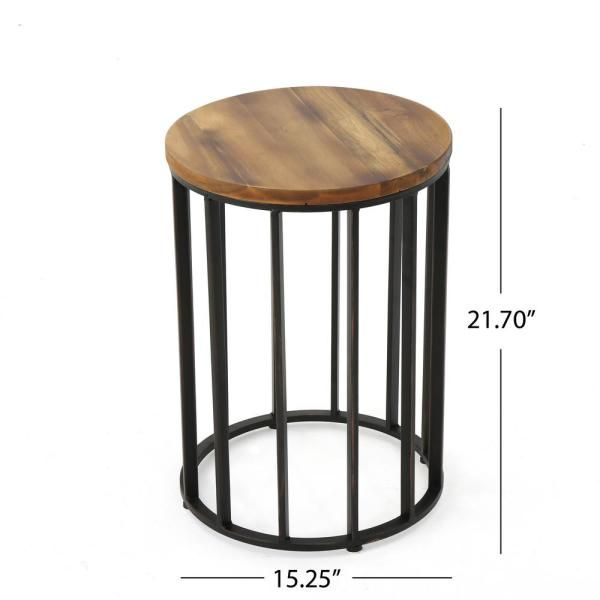 Noble House Canary Natural Wood Outdoor Accent Table 12642 The Home Depot In 2020 Outdoor Accent Table Patio Accent Table Round Accent Table