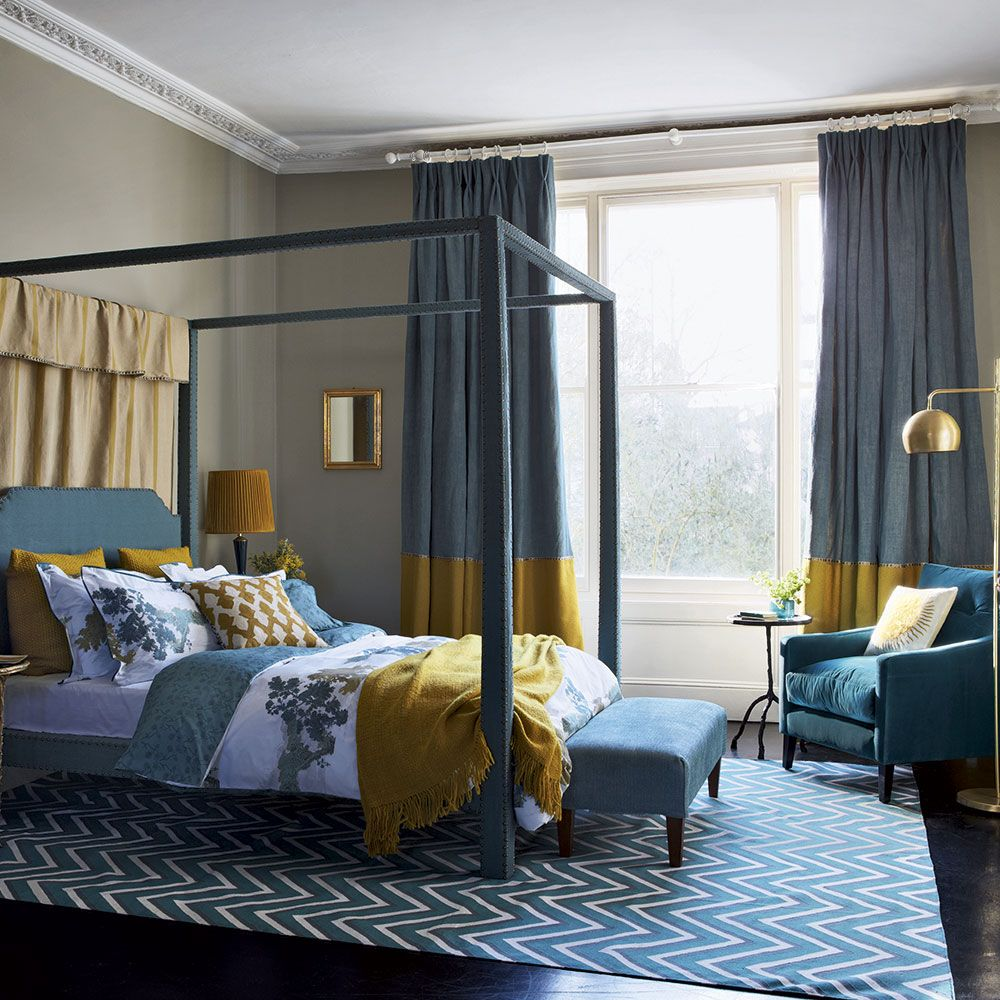 Teal Blue And Mustard Bedroom With Modern Four Poster Bed Bedroom