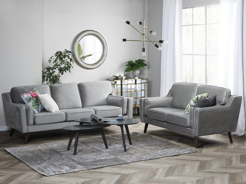 3 Seater Velvet Sofa Light Grey Lokka Velvet Furniture Velvet