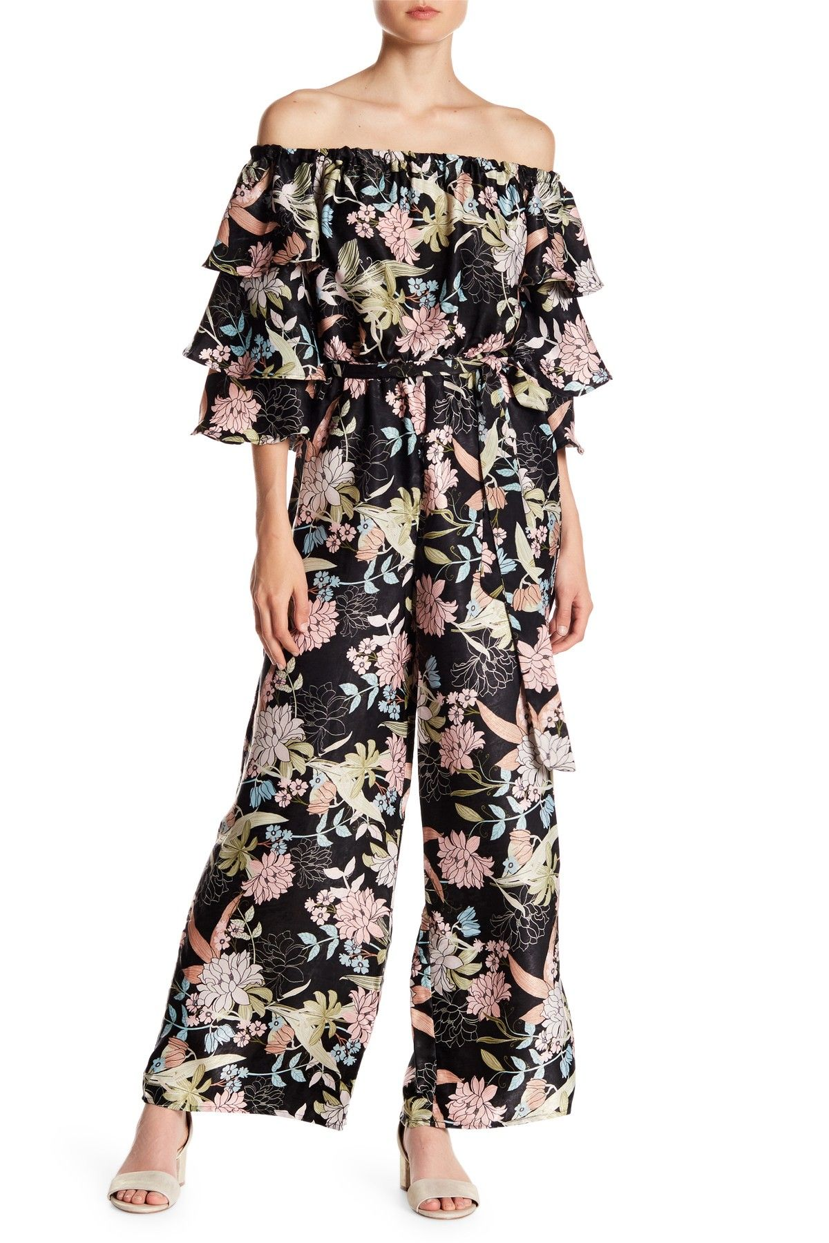 56a32bd38b2 Floral Off-the-Shoulder Ruffle Sleeve Jumpsuit