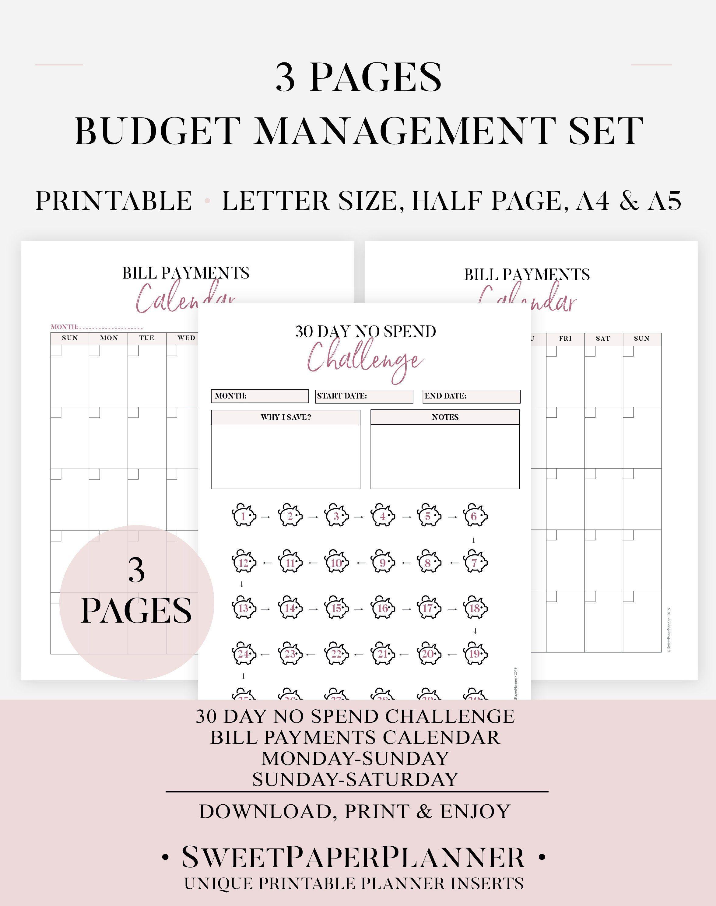 Budget Management Set Printable Bill Payments Calendar