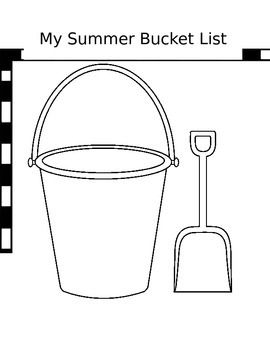 Black White Template Of A Beach Bucket And Shovel Im Having My Soon To Be First Second Grade Summer Camp Students Write In The 5 Things