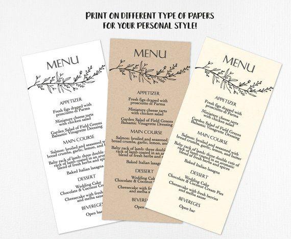 Rustic Wedding Menu Template DIY Printable Menus Kraft Editable Men